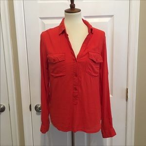 Cloth & Stone Red Roll Up Sleeve Top Blouse Medium